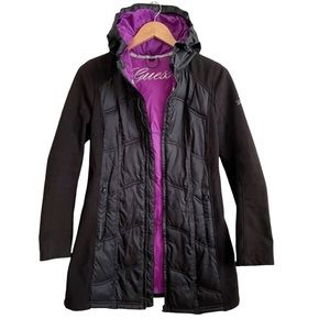 Guess Women's Black Quilted Winter Jacket Coat Size Small